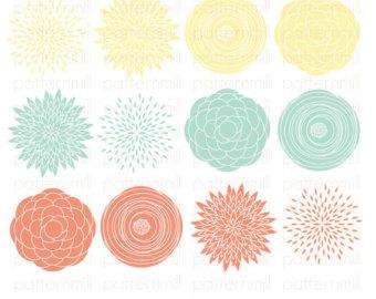 Ranuncula clipart mint flower Zinnia Paper Dahlia Yellow Peach