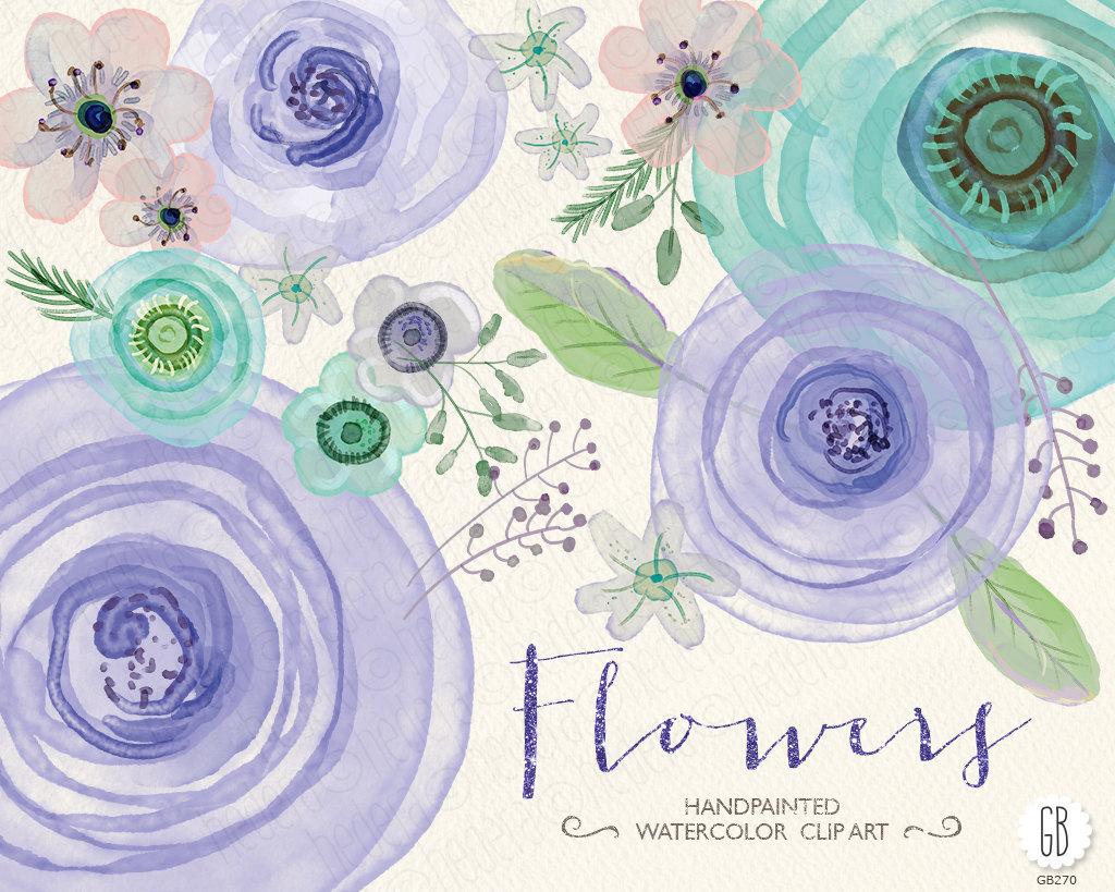 Ranuncula clipart mint flower File anemone Watercolor flowers mint