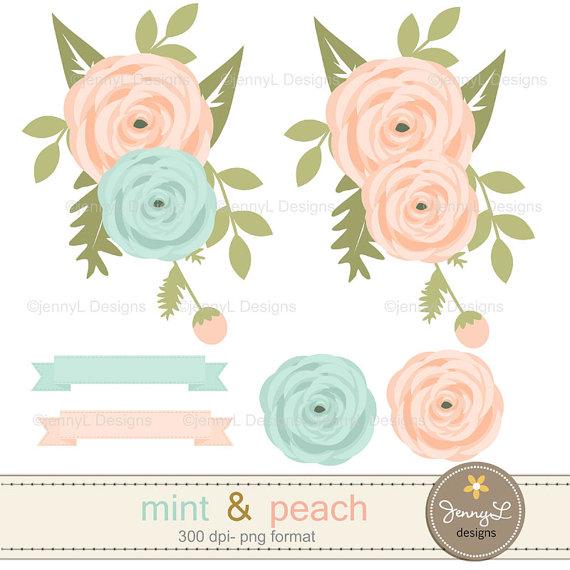 Ranuncula clipart mint flower File Paper Mint Digital Peach