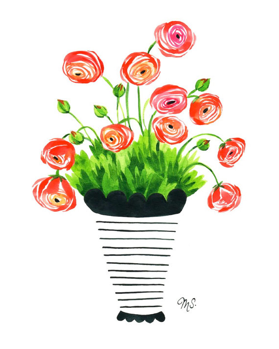Ranuncula clipart modern flower Illustration Ranunculus Illustration Ranunculus r