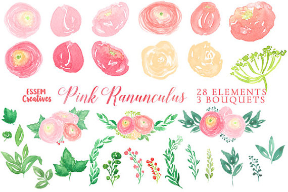 Ranuncula clipart pastel flower This is Wreath a Watercolor