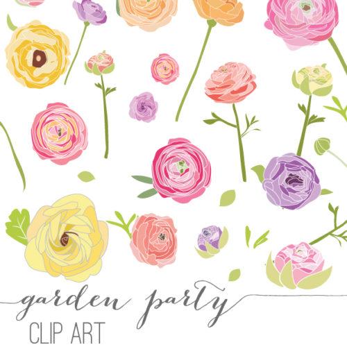 Ranuncula clipart pastel flower Garden Party Clip Makes Flowers