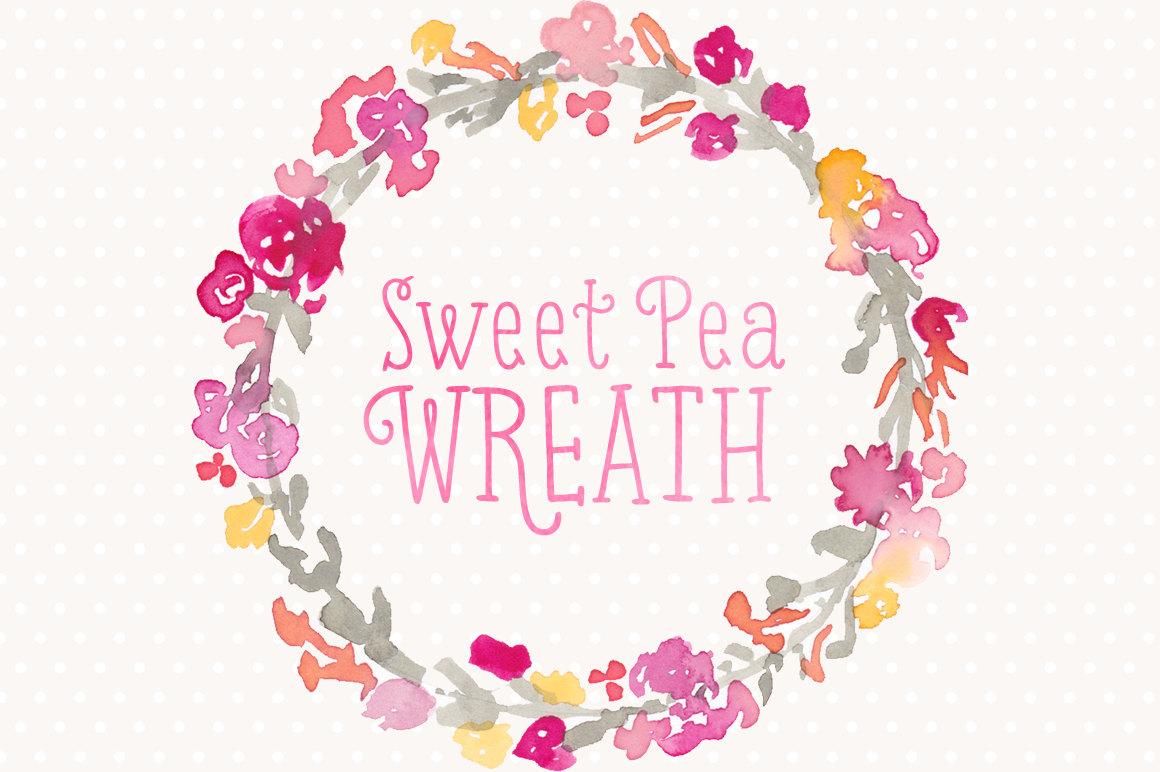 Ranuncula clipart pastel flower Sweet ranunculus Pea Commercial Wreath