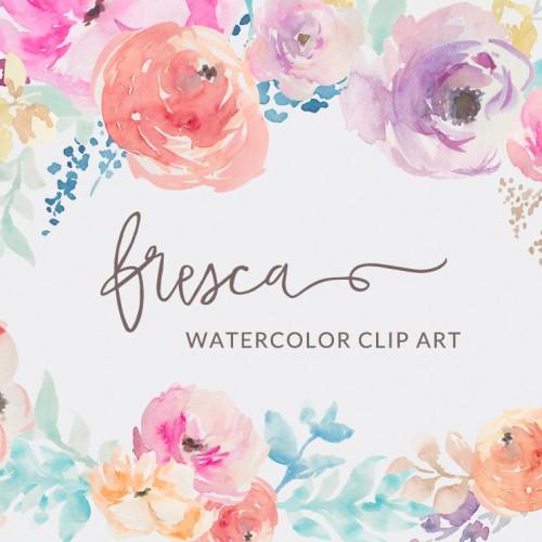 Ranuncula clipart pastel flower Watercolor hand Clip Collection Art