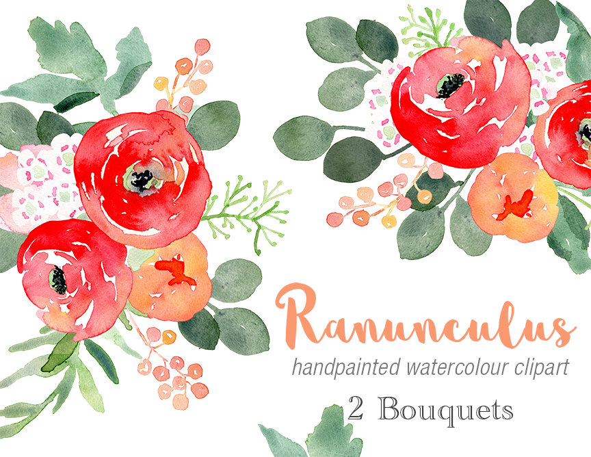 Ranuncula clipart peach flower #7