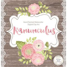 Ranuncula clipart peach flower Posy designloverstudio by Flowers Watercolor