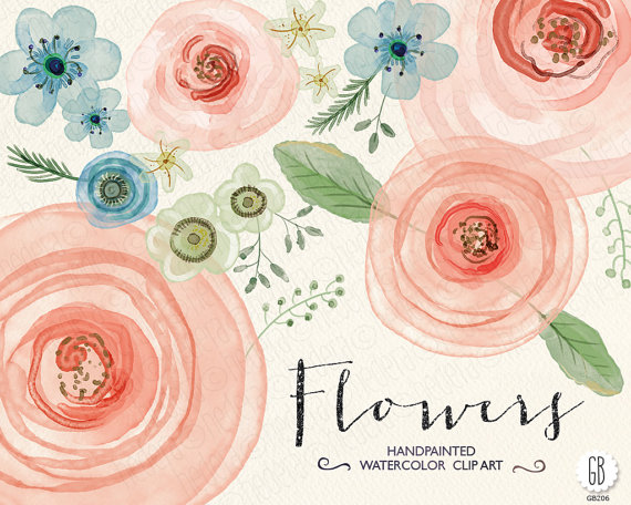 Paint clipart watercolor paint Watercolor GrafikBoutique flowers card flowers