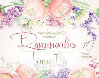 Ranuncula clipart watercolour flower Bouquets Ranunculus Watercolour Lilac invitation