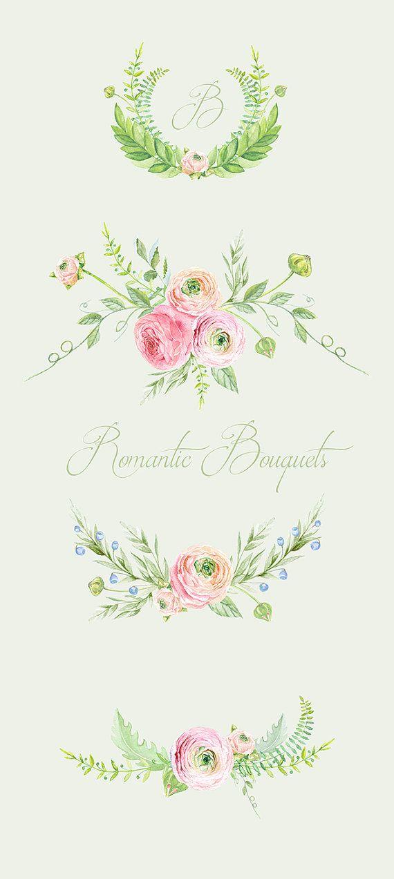 Ranuncula clipart watercolour flower Clip Drawn images digital Ranunculus