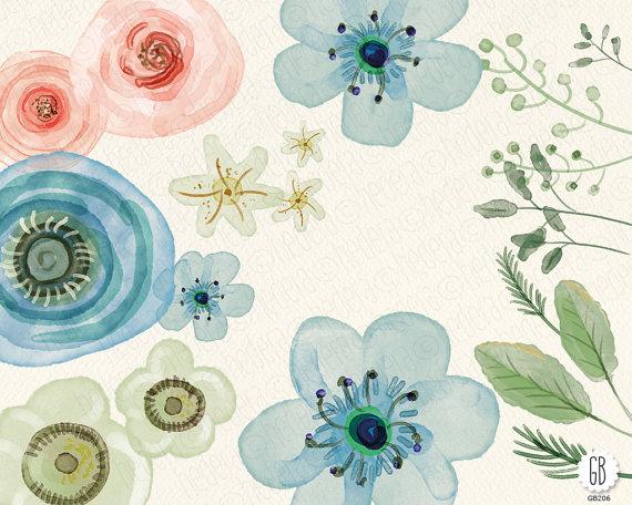Ranuncula clipart watercolour flower Hand flowers  diy roses