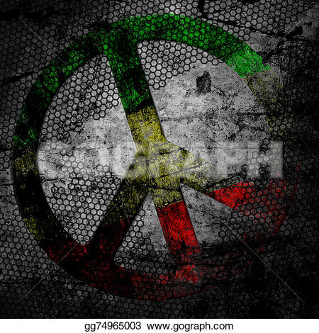 Rastas clipart peace sign Textured textured on rasta Illustrations