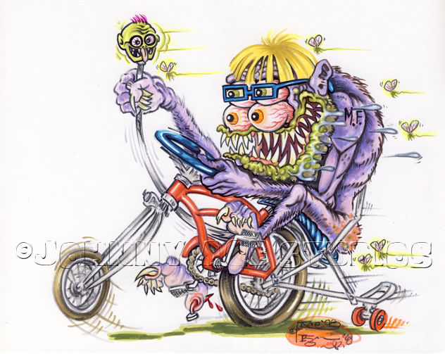 Drawn rat monster Johnny ROTH Daddy Bike Ray