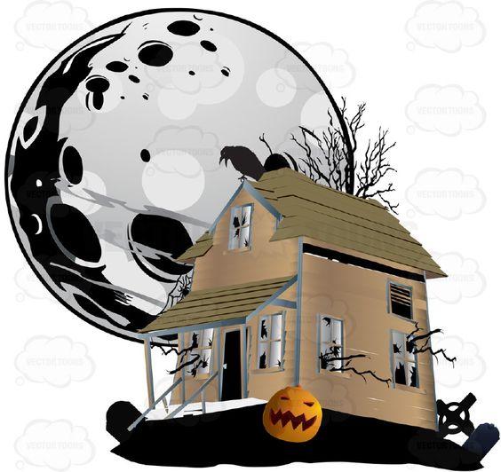Raven clipart halloween full moon #7