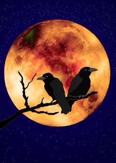 Raven clipart halloween full moon #6