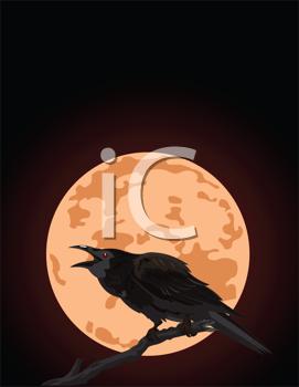 Raven clipart halloween full moon #3