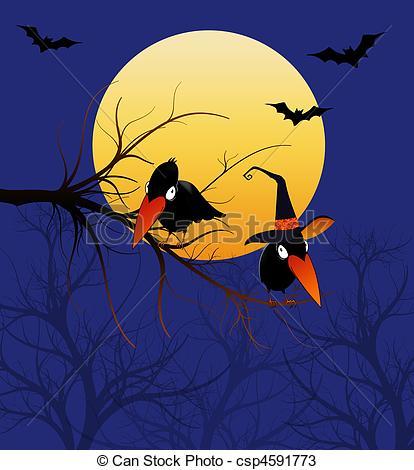 Raven clipart halloween full moon #5