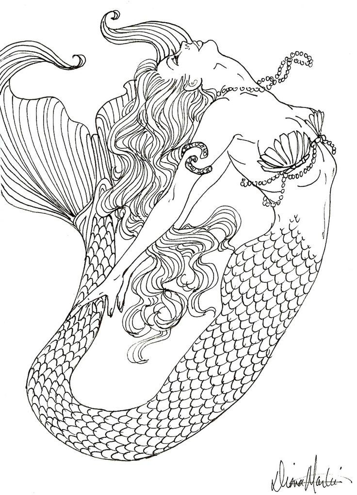 Drawn mermaid hard Coloring pages Realistic Pages Pages