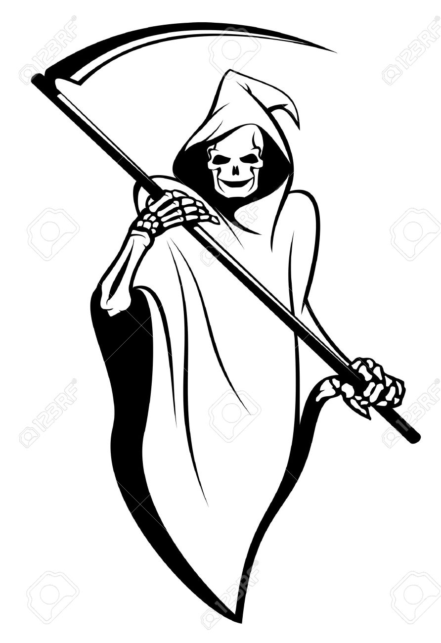 Reaper clipart black and white On  10942302 tattoo sign