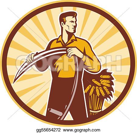 Drawn scythe farmer Farmer Illustration of wheat a