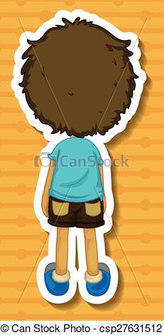 Rear clipart boy looking Clip of boy Back Vector