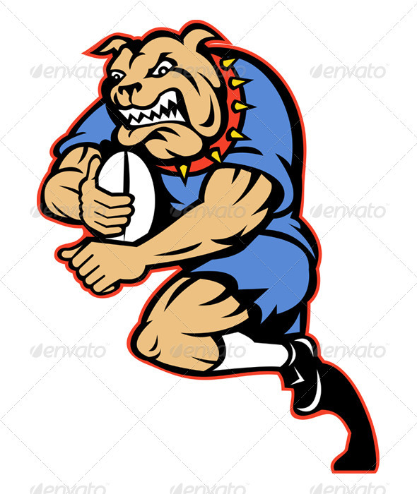 Receiver clipart rugby player Player Rugby Bulldog and Running