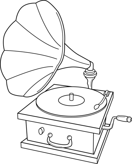Gramophone clipart black and white Record Coloring Page Player Free