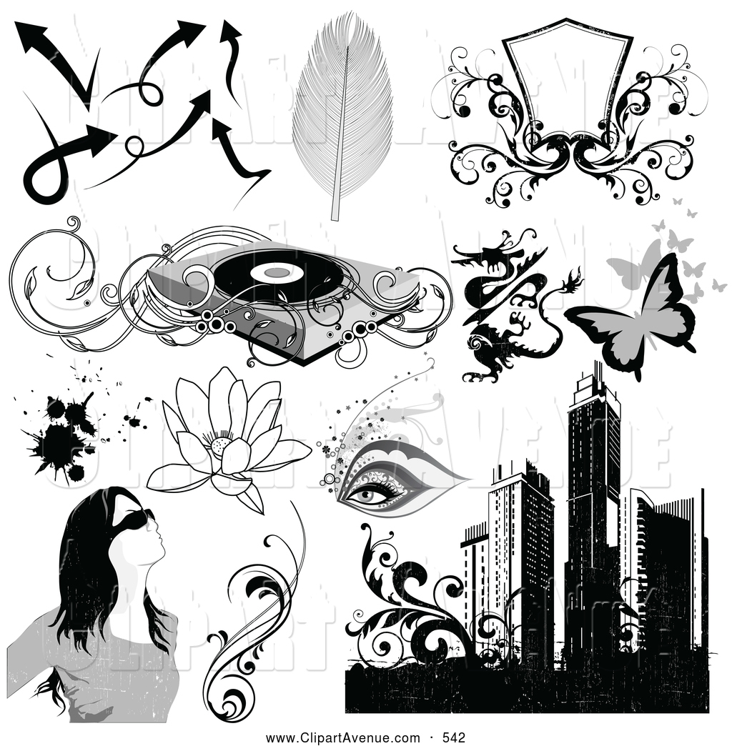 Record Player clipart black and white Avenue Set Avenue Feathers Record