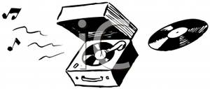 Record Player clipart black and white Clipart White Image: Black Record