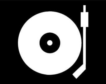 Record Player clipart black and white Turntable player size color decal