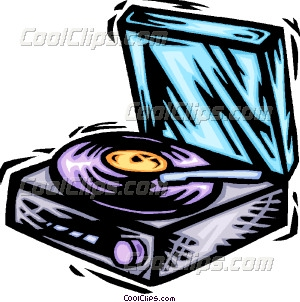 Record Player clipart cartoon Art Vector LP record player