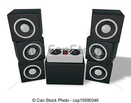 DJ clipart dj speaker Tower turntables 3d speaker of