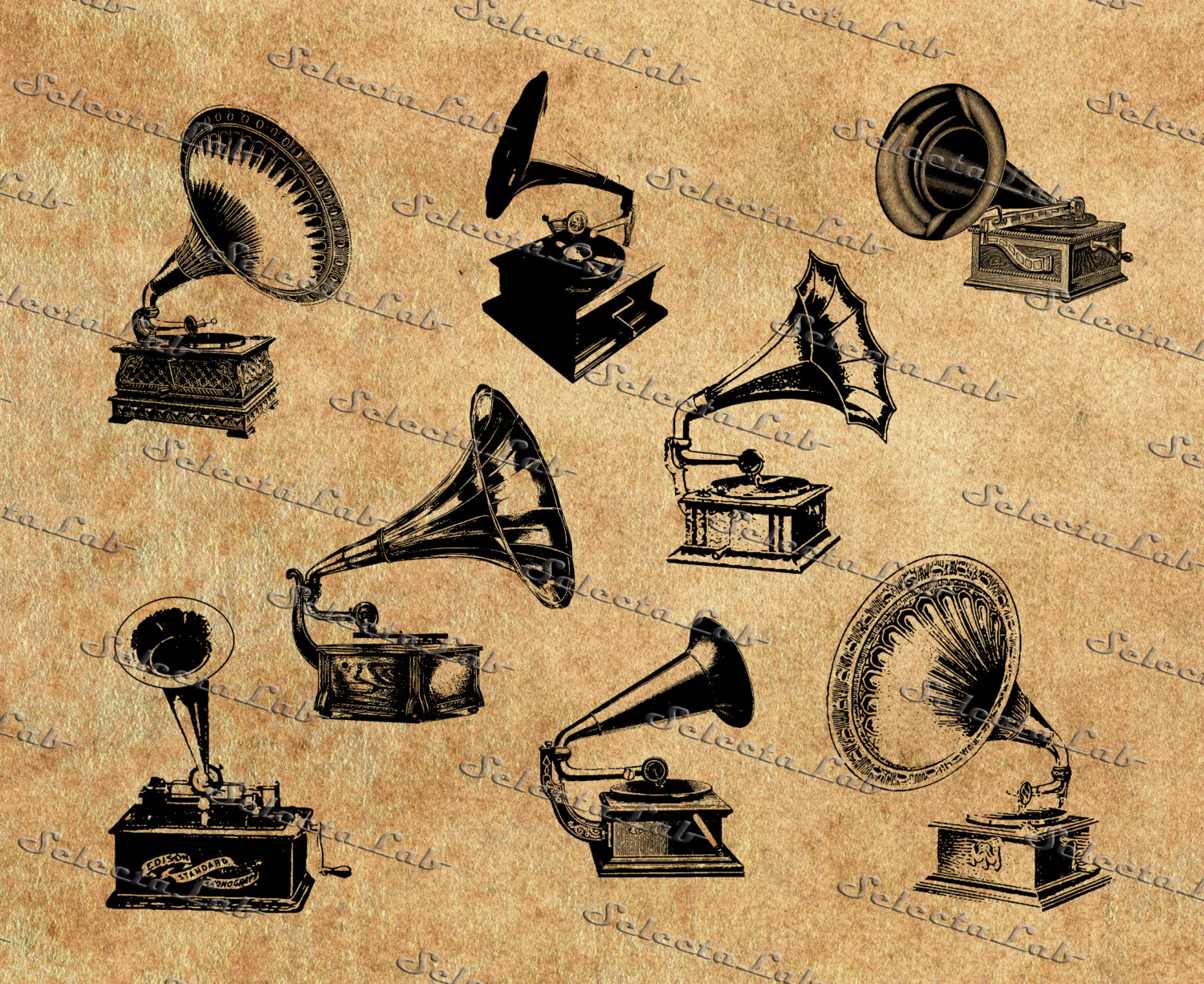Record Player clipart horn SVG record PNG vintage Digital
