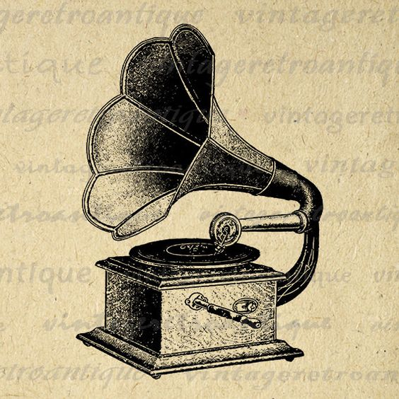 Record Player clipart horn Digital 18x18 Phonograph Antique Download