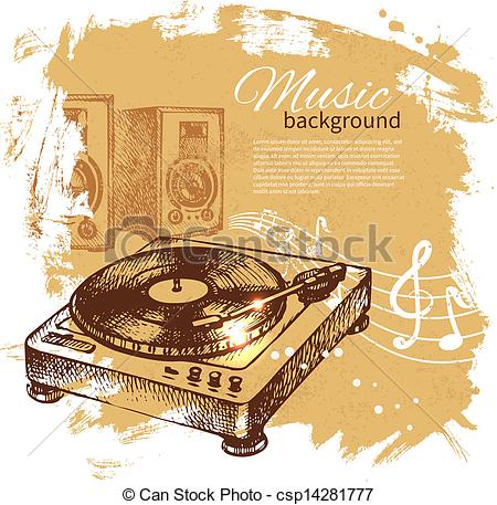 Record Player clipart vintage music Splash Vectors of background retro