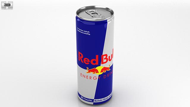 Red Bull clipart 330ml Can model Hum3D 3D Bull