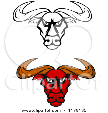 Red Bull clipart black and white Head clipart black Bison bulls