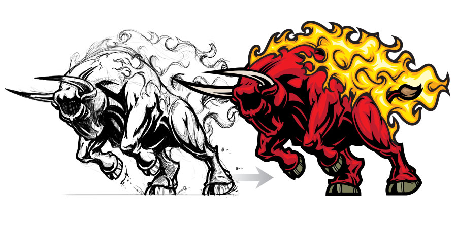 Red Bull clipart fire #2
