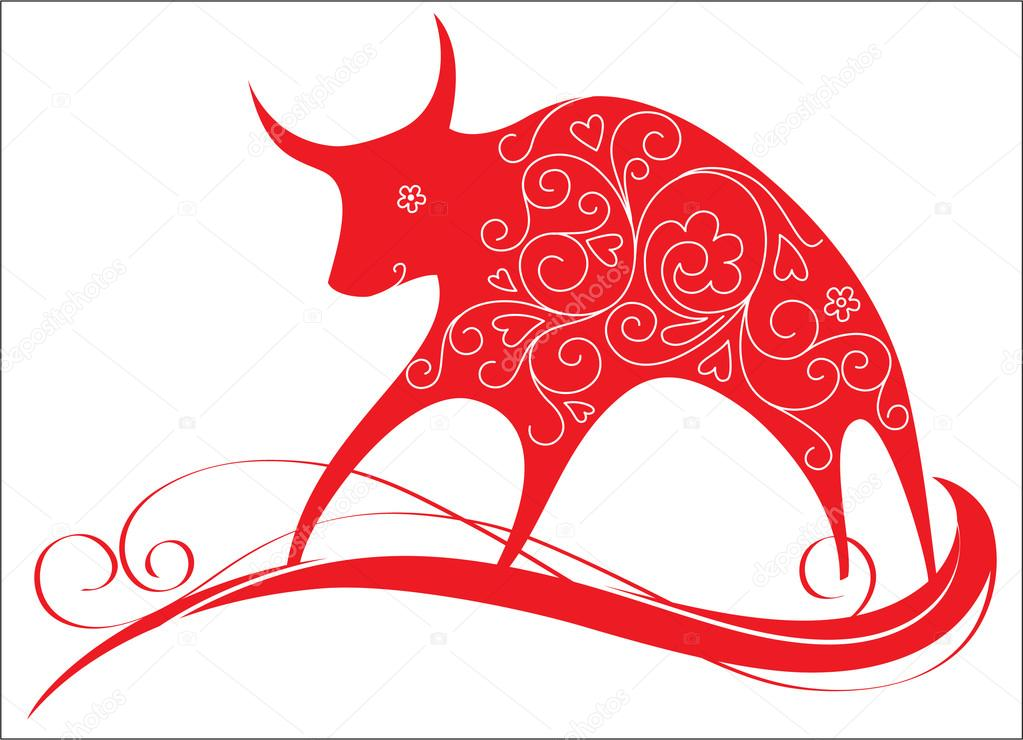 Red Bull clipart indian Decorative bull Vector © by