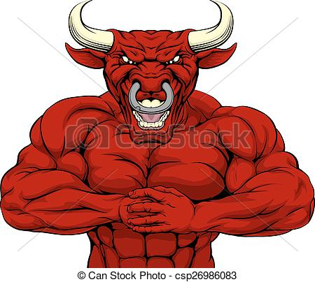 Red Bull clipart mascot Vector mascot Strong Strong or
