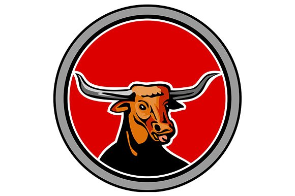 Red Bull clipart res Creative Longhorn Texas Retro Bull