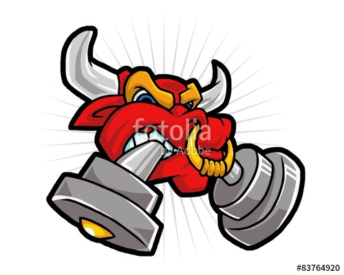 Red Bull clipart res Files biting red and barbell