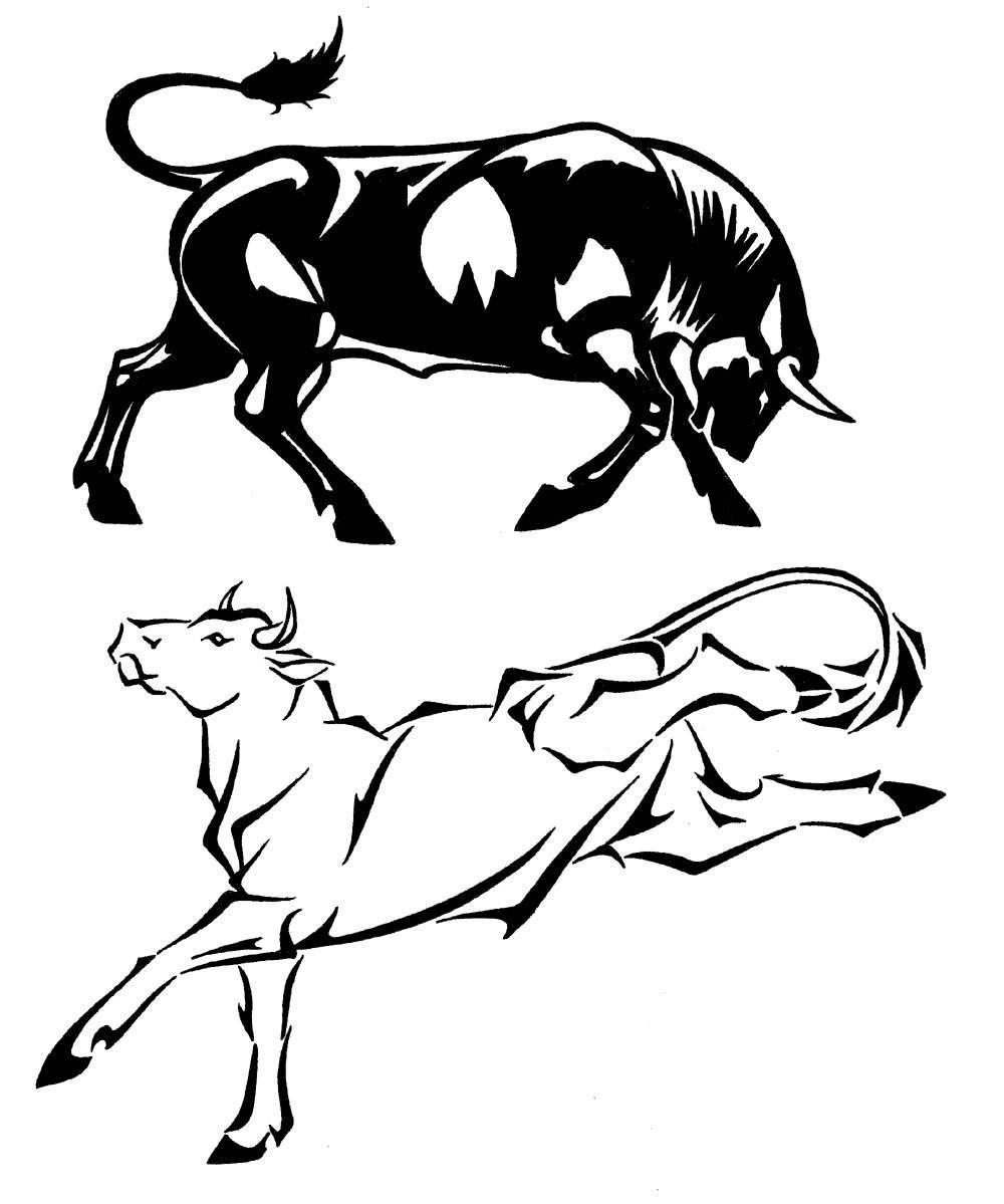 Red Bull clipart rodeo bull Bull designs Set by 1