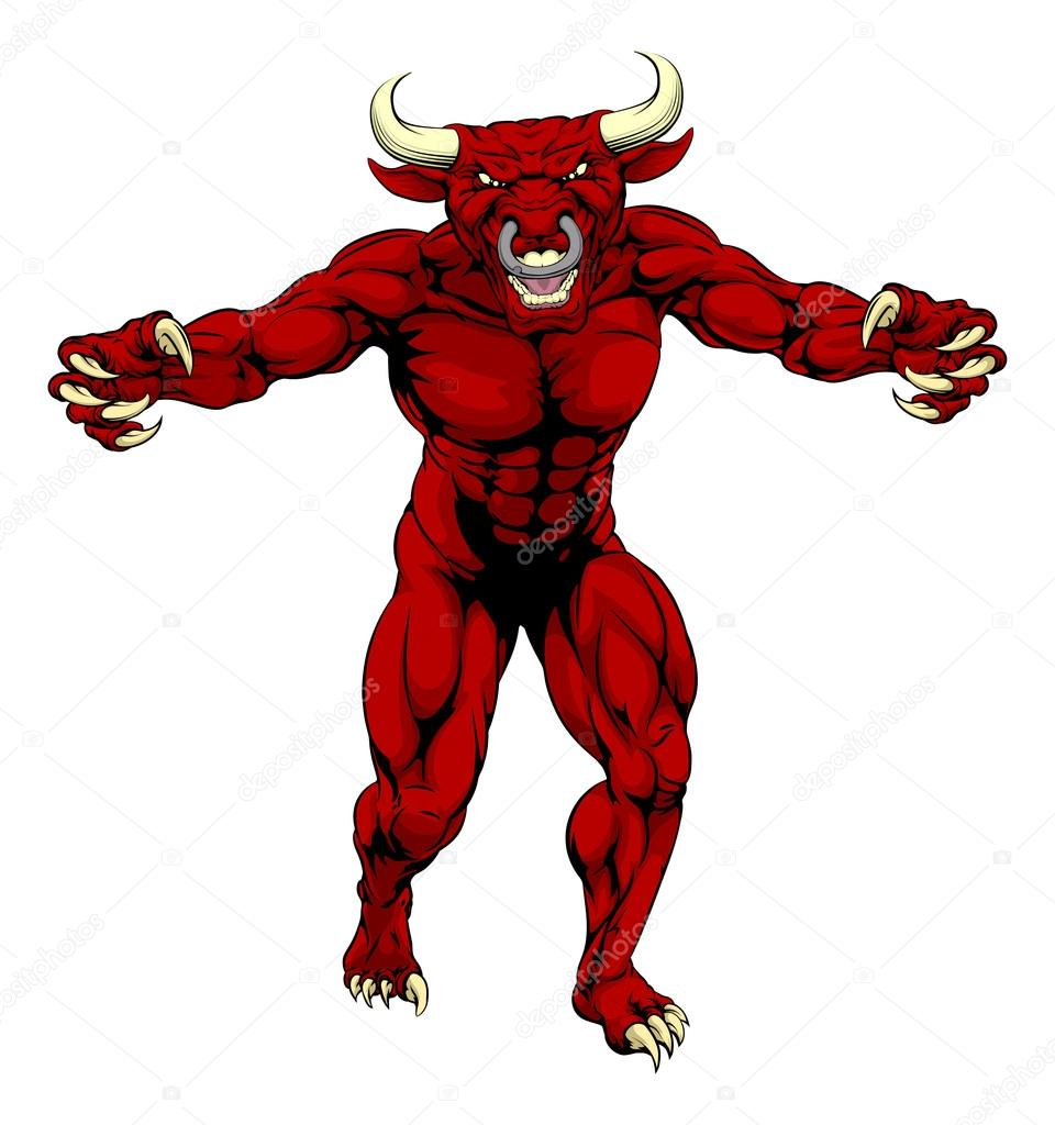 Red Bull clipart sport A Red Vector muscular —
