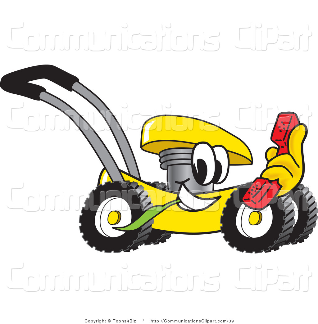 Yellow clipart lawn mower Mascot Clipart Yellow Communication with
