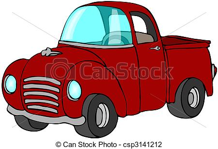 Red clipart pick up truck #12