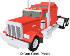 Red clipart semi truck #10