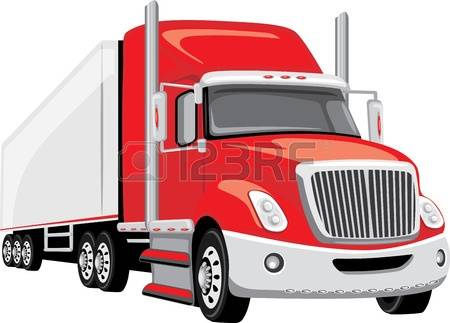 Red clipart semi truck #9