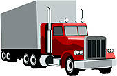 Red clipart semi truck #6