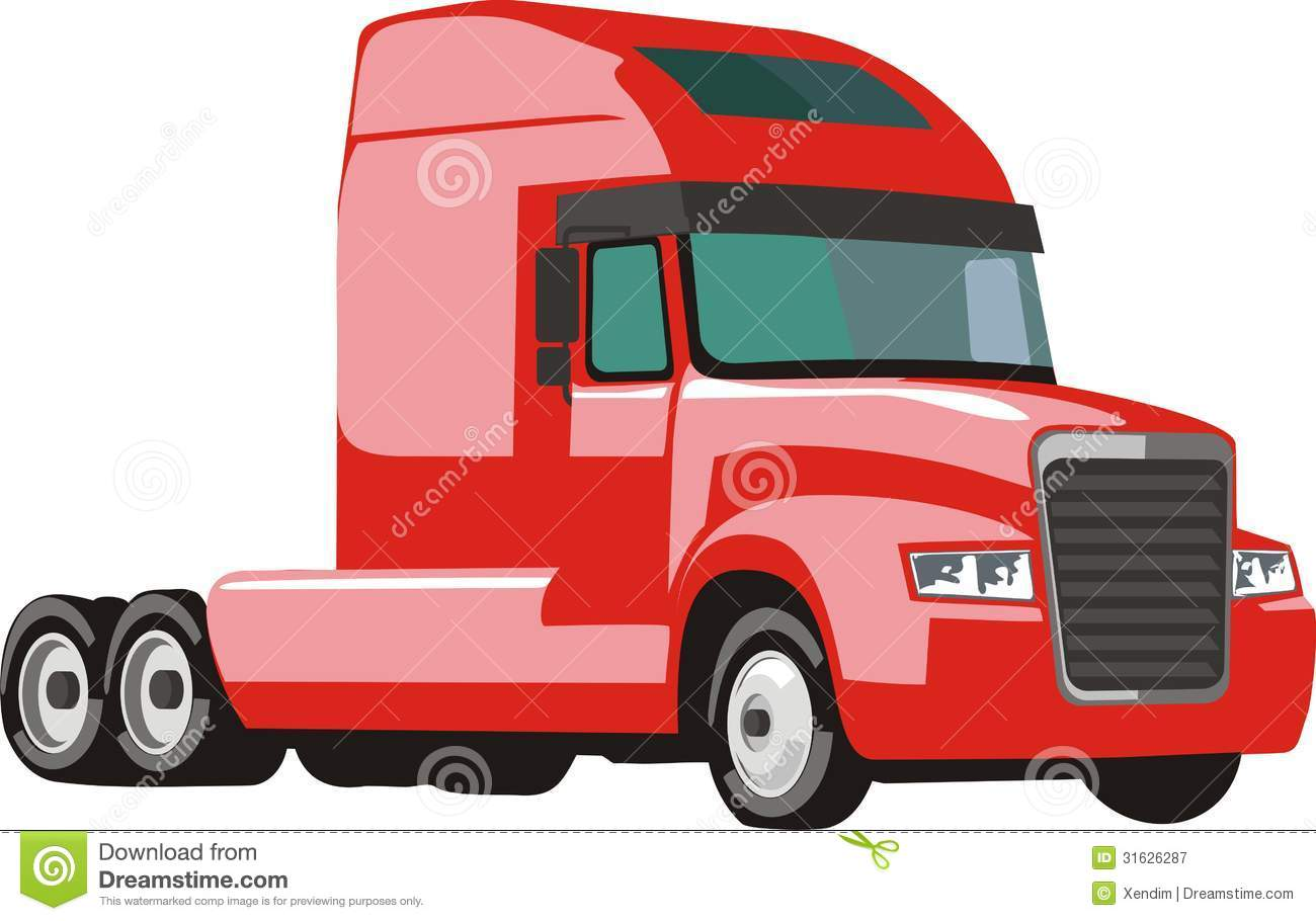 Red clipart semi truck #7