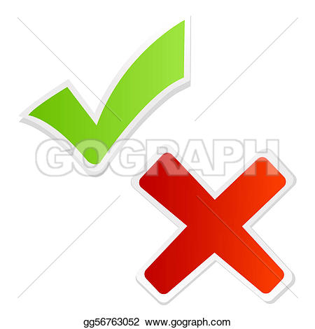 Red Cross clipart check mark Isolated  gg56763052 Stock Stock